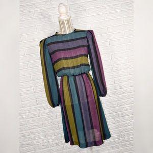 Vtg 80s Enterprise | Sheer Striped Midi Dress